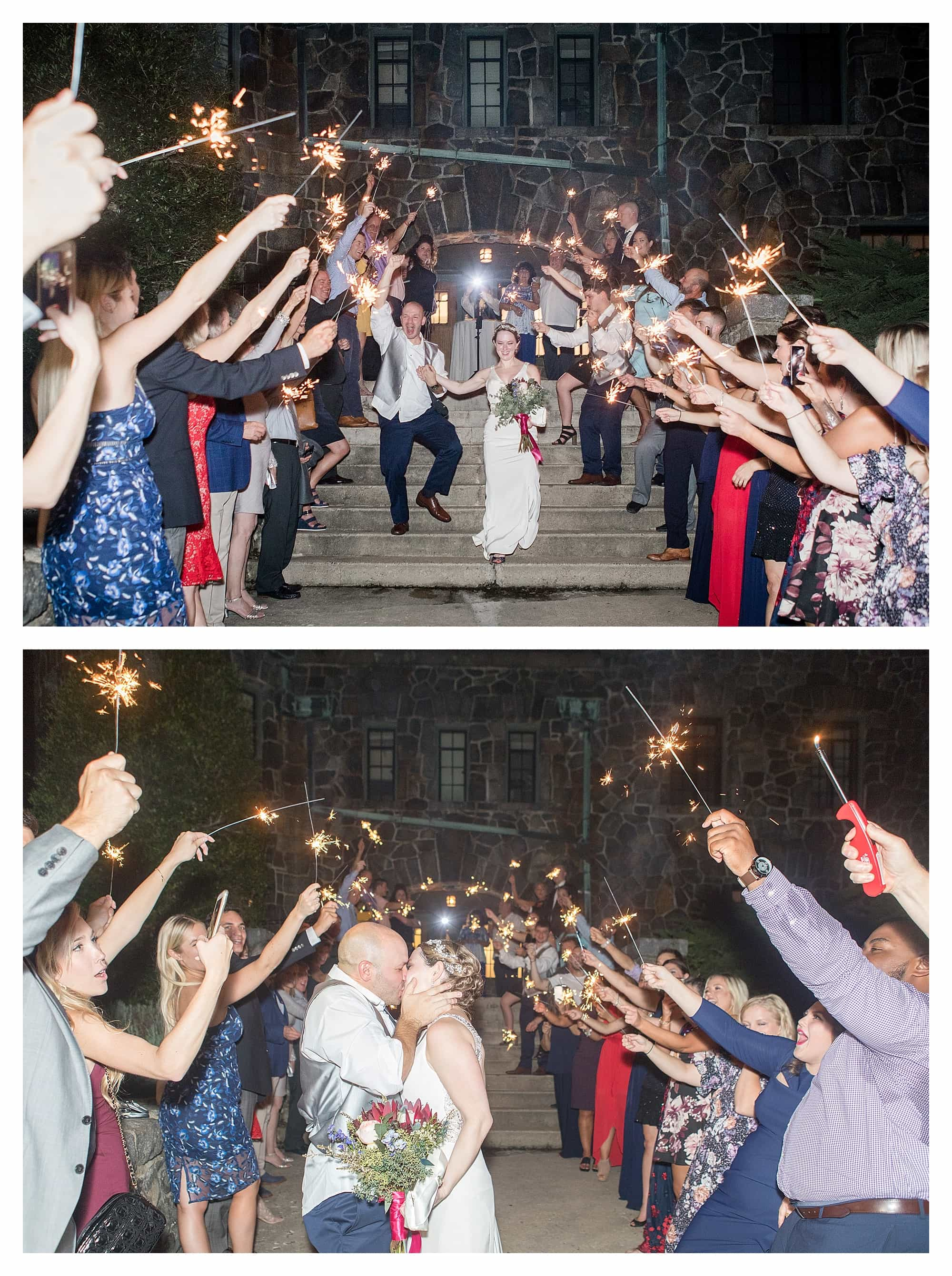 Sparkler exit at Asheville Wedding ceremony