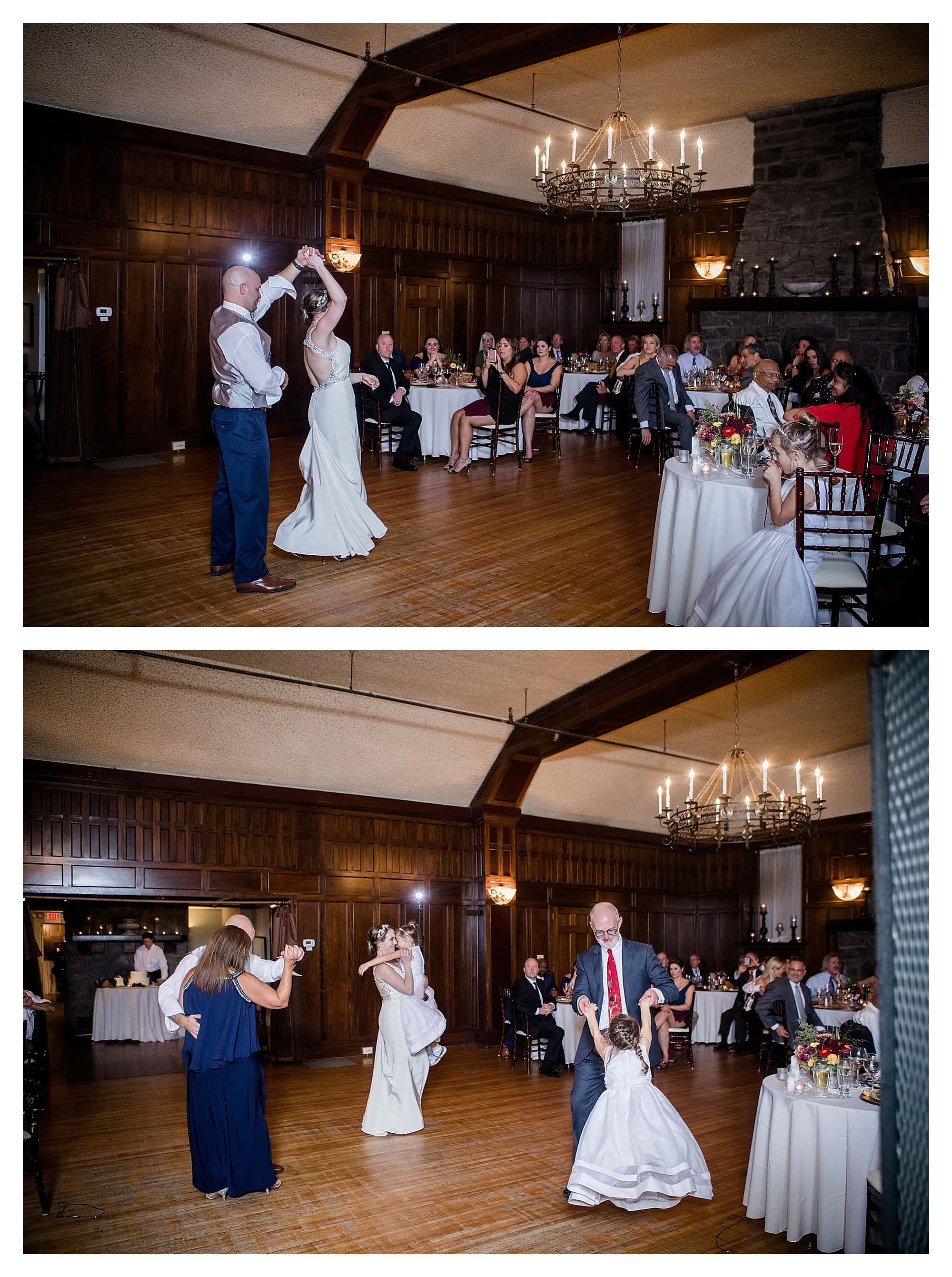 Bride and Groom dance with parents and kids