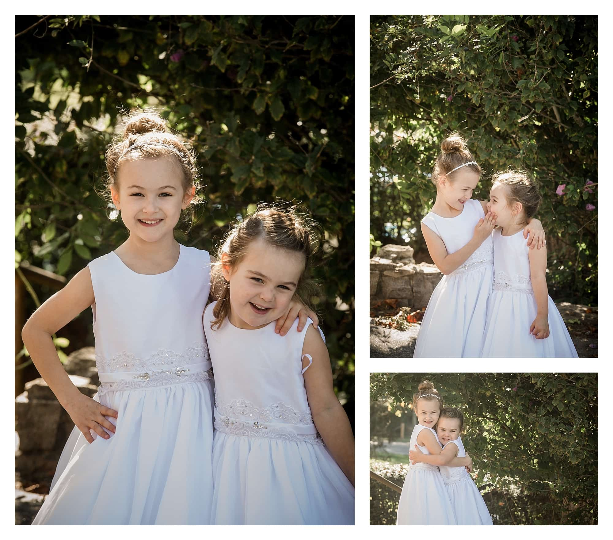 Adorable sister flower girls photographs by Kathy Beaver