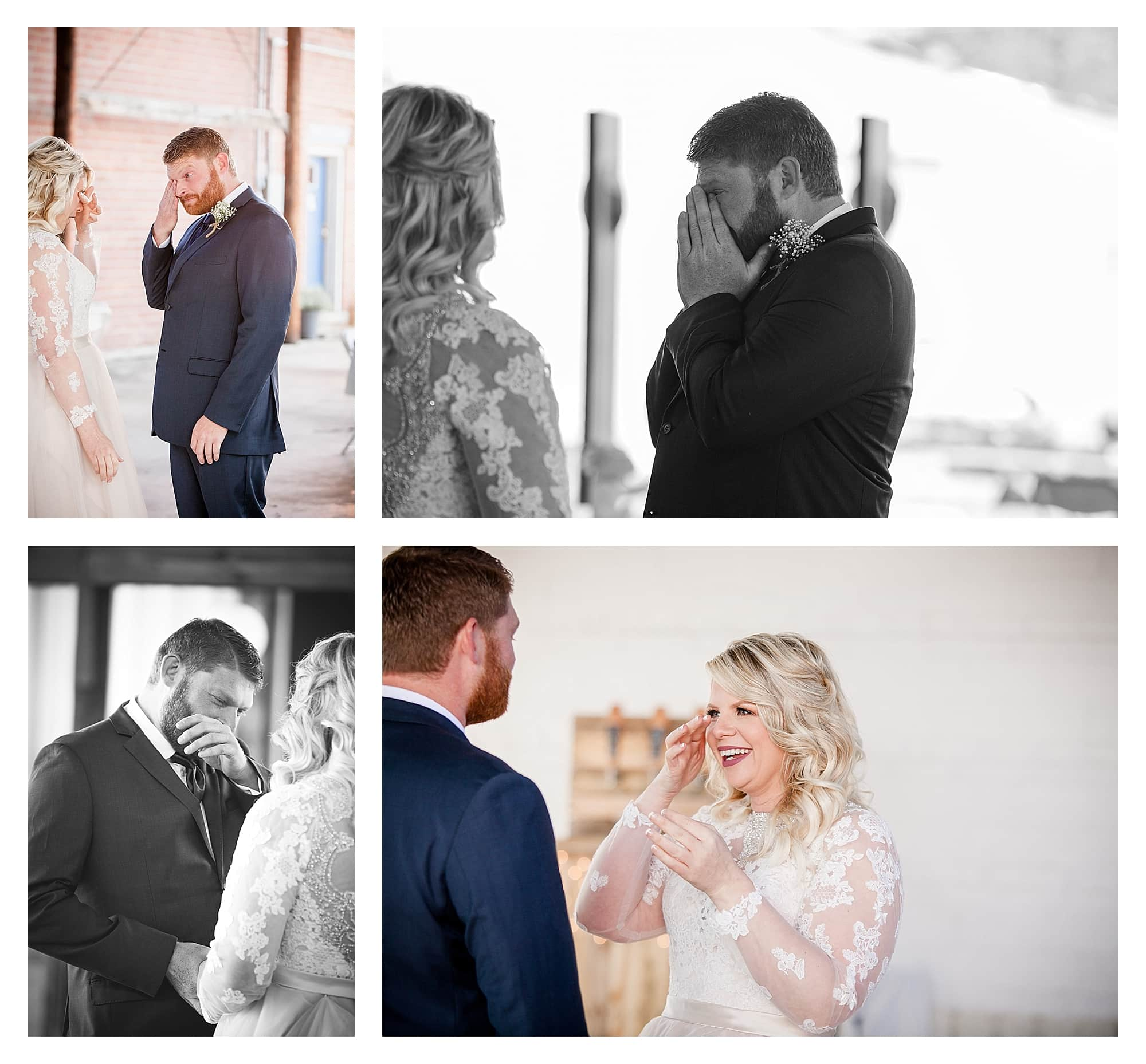 Bride and groom emotional first look