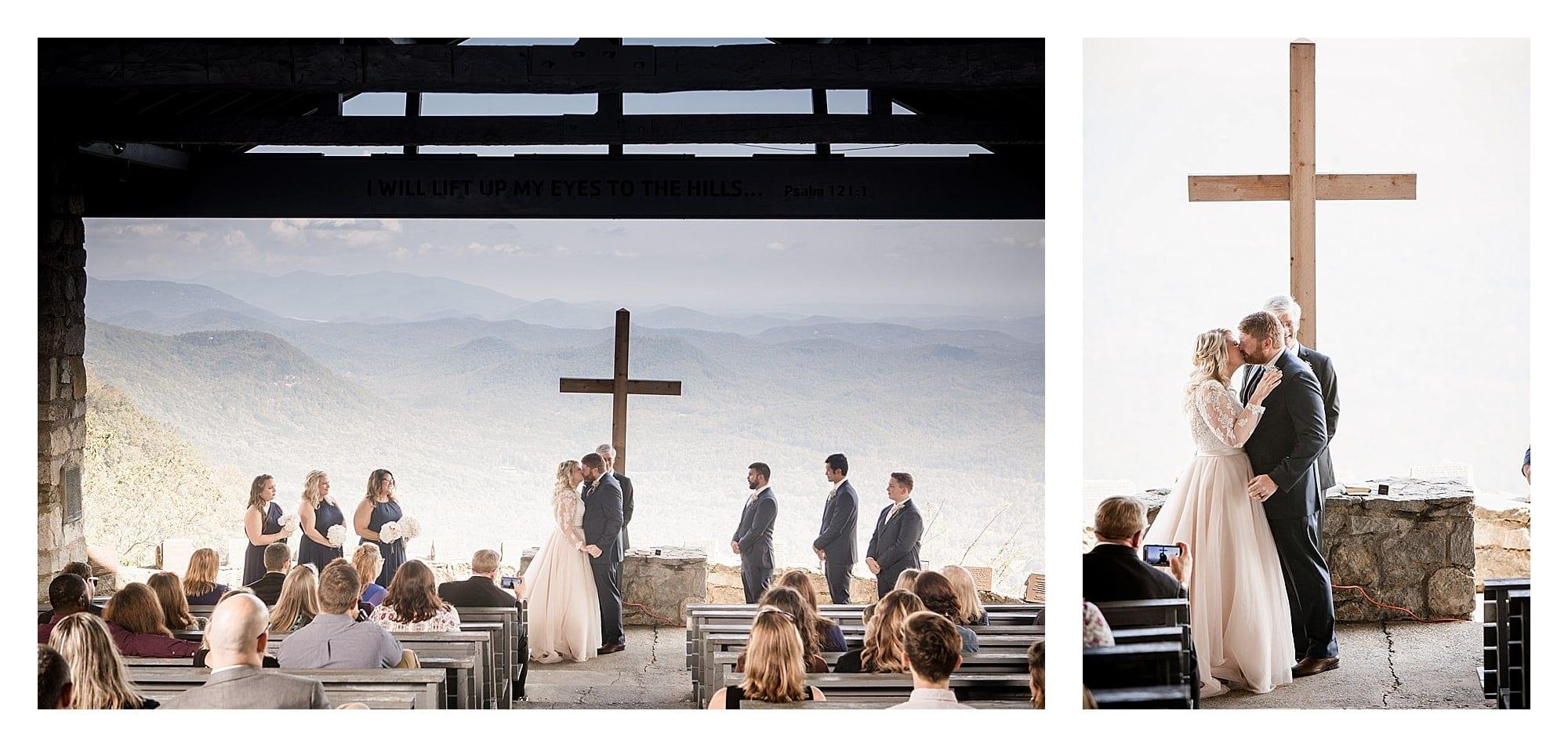 Mountain view wedding ceremony Ashevill