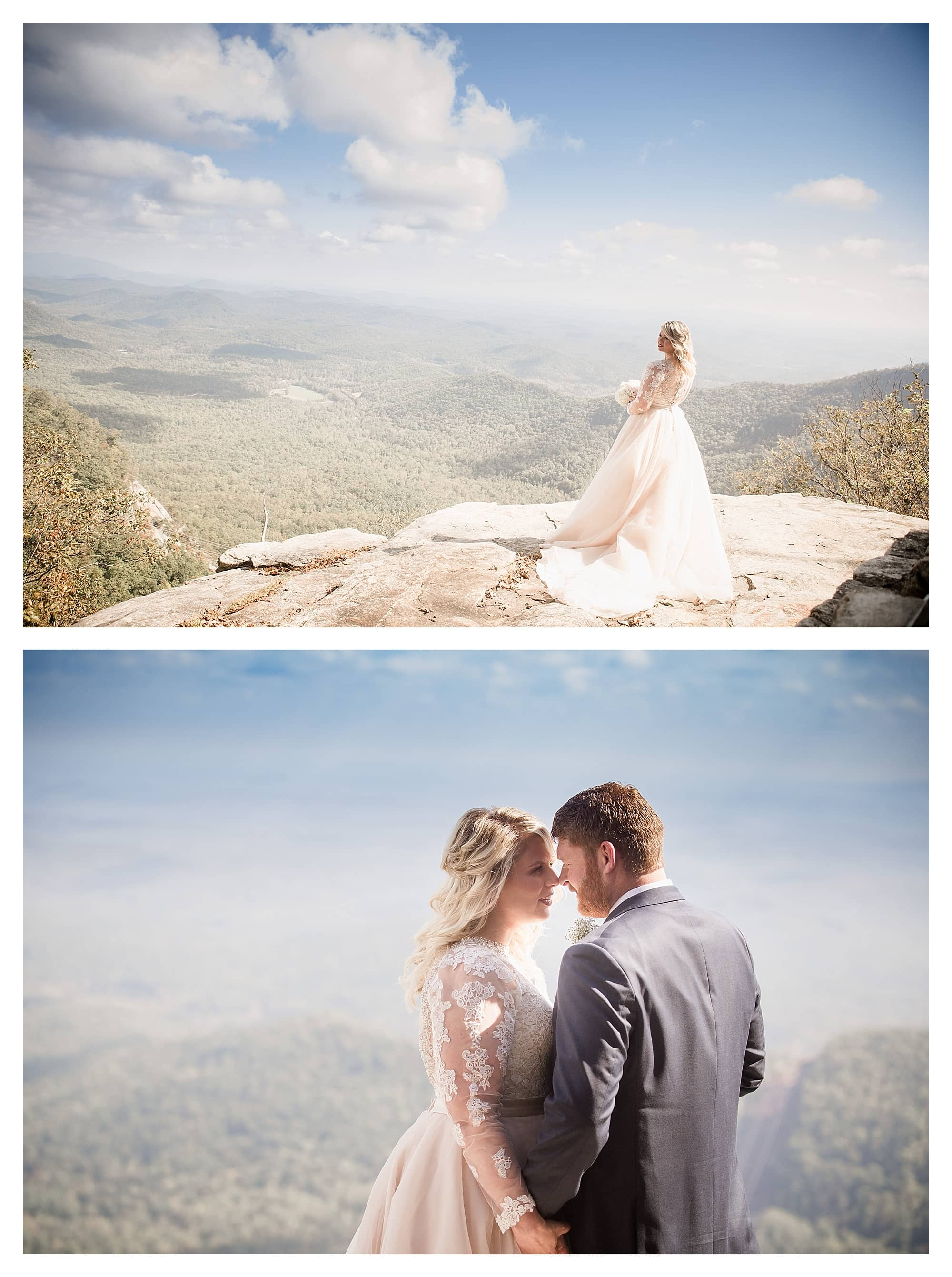 Bride overlooking mountains at Pretty Place Chapel