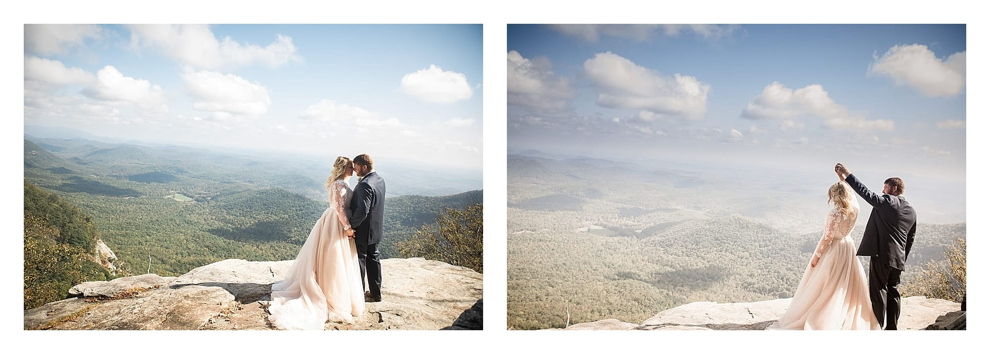 Bride and groom overlooking mountain view Asheville