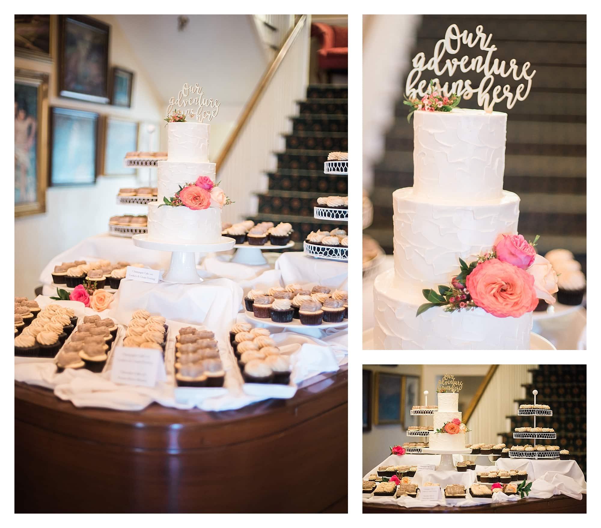 Mini cupcakes and wedding cake on piano display