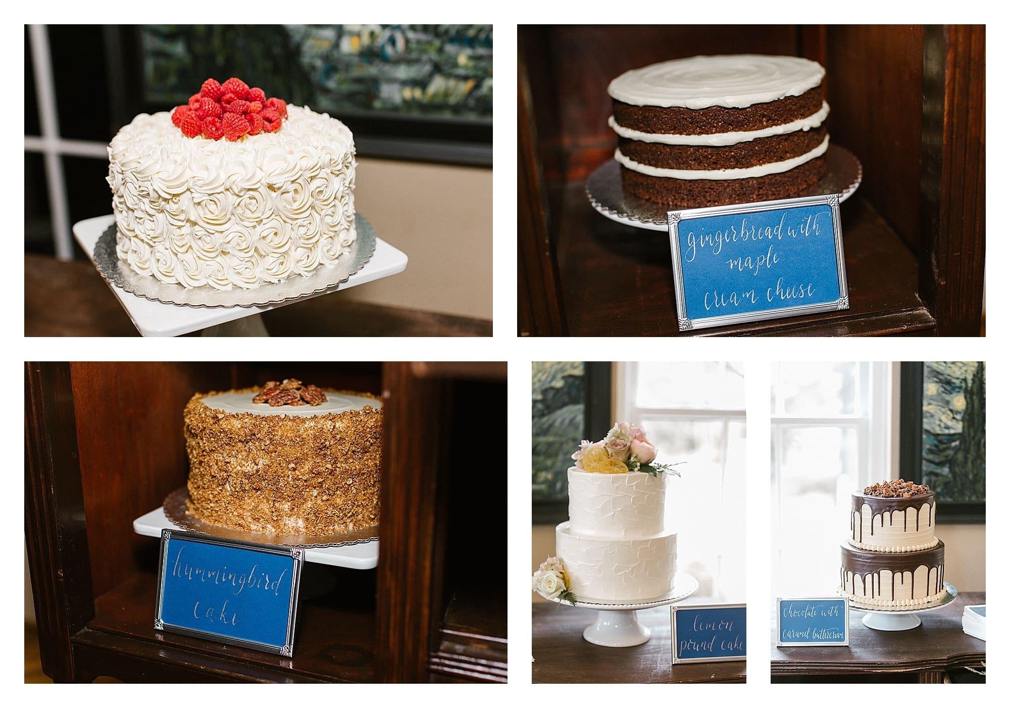 several cakes at wedding