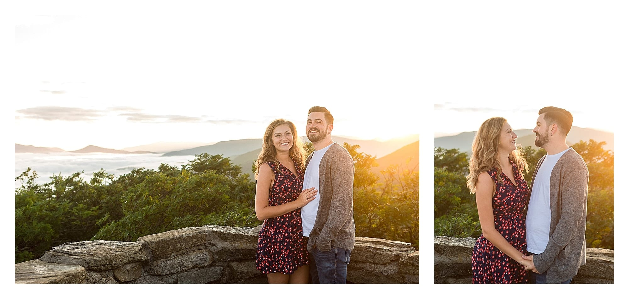 Engaged couple smiling at camera with sunrise and mountains in background