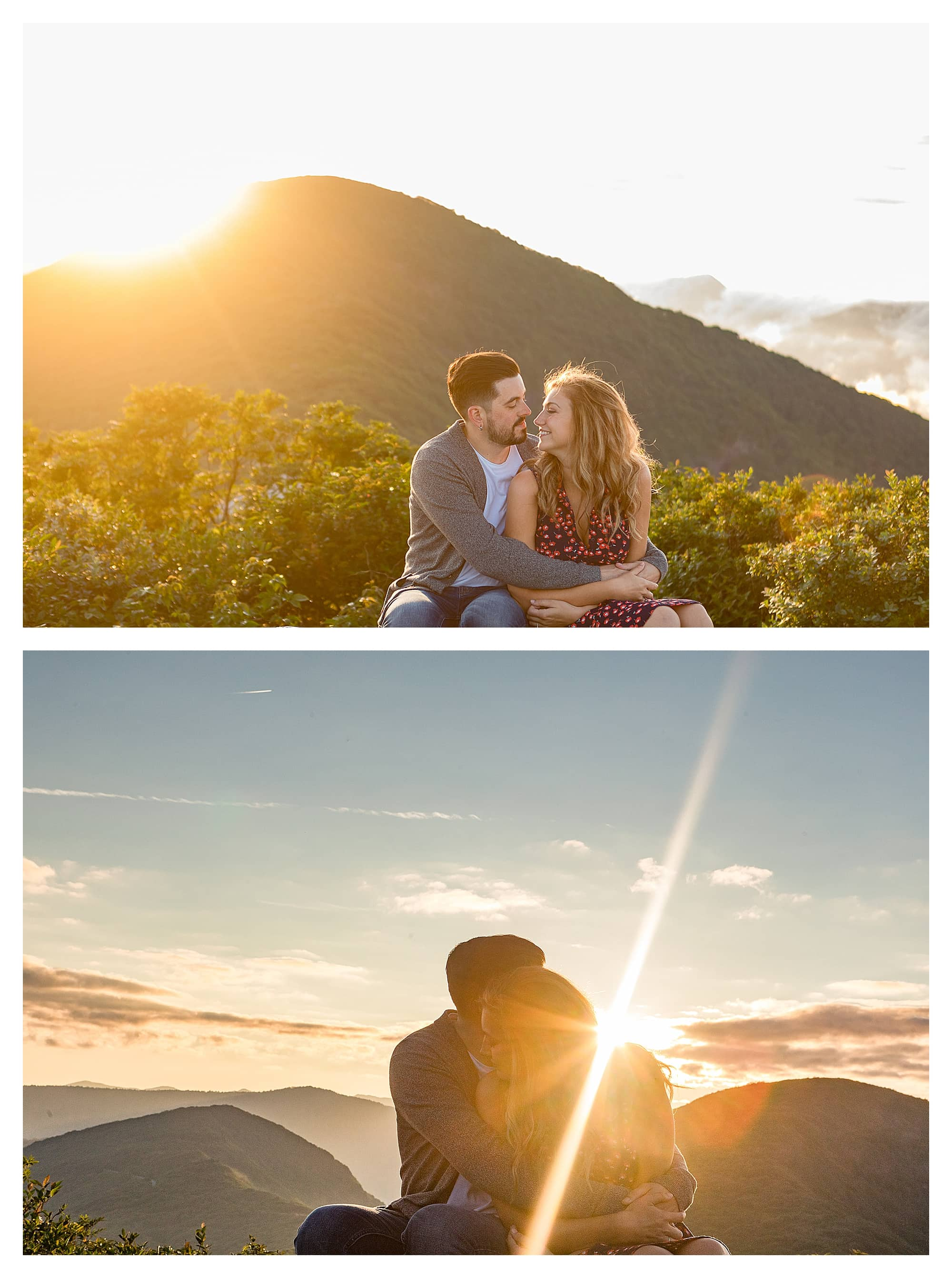 Engaged couple kissing while sitting on brick wall with sunrise and mountains in background