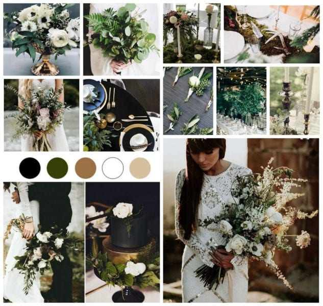 Moody dark wedding inspiration board with dark florals and greenery