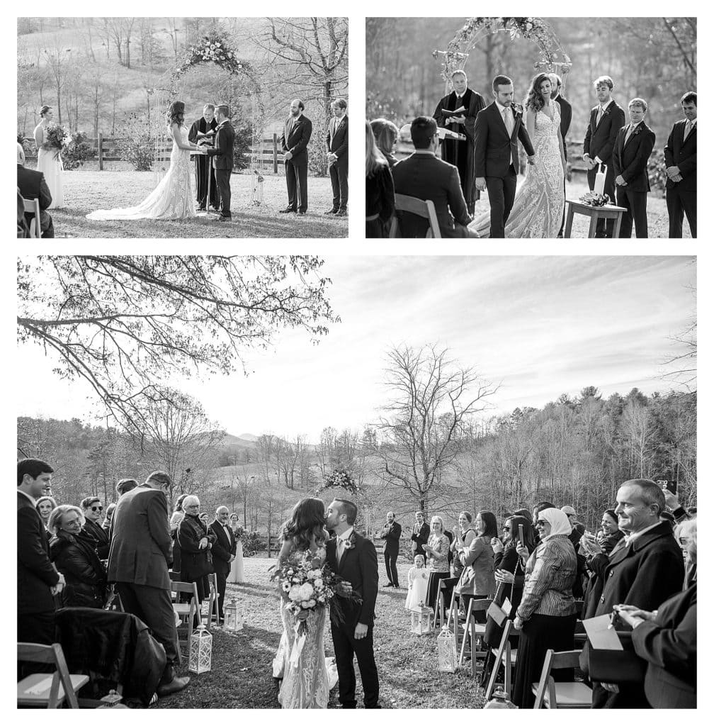 Black and white photos of bride and groom saying vows and then walking down the aisle at the end of wedding - kathy beaver photography