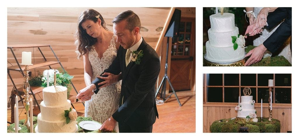 Bride and groom cutting white wedding cake together - kathy beaver photography