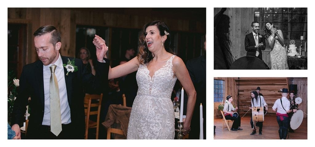 Bride and groom dancing and arabic drumming band playing - kathy beaver photography