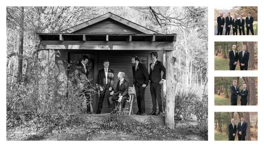 Groom and groomsmen posing by trees on country farm - kathy beaver photography