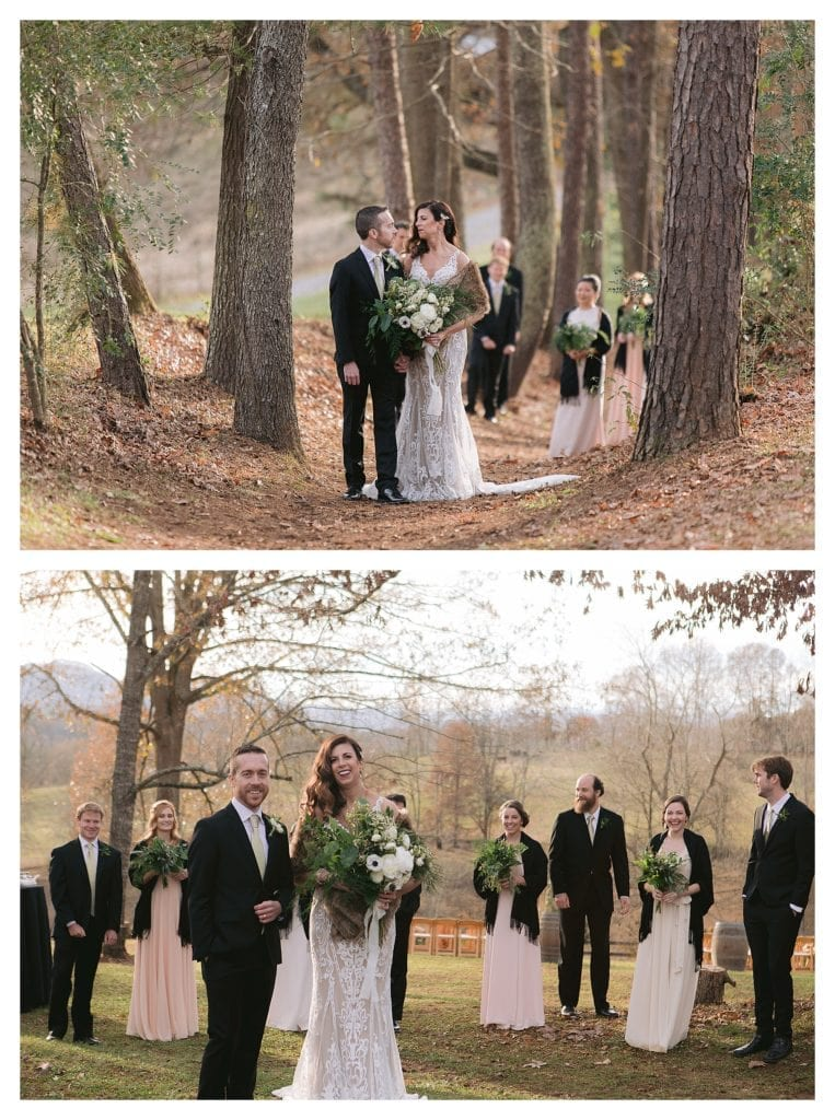 Wedding party posing with treed backdrop in december in north carolina - kathy beaver photography