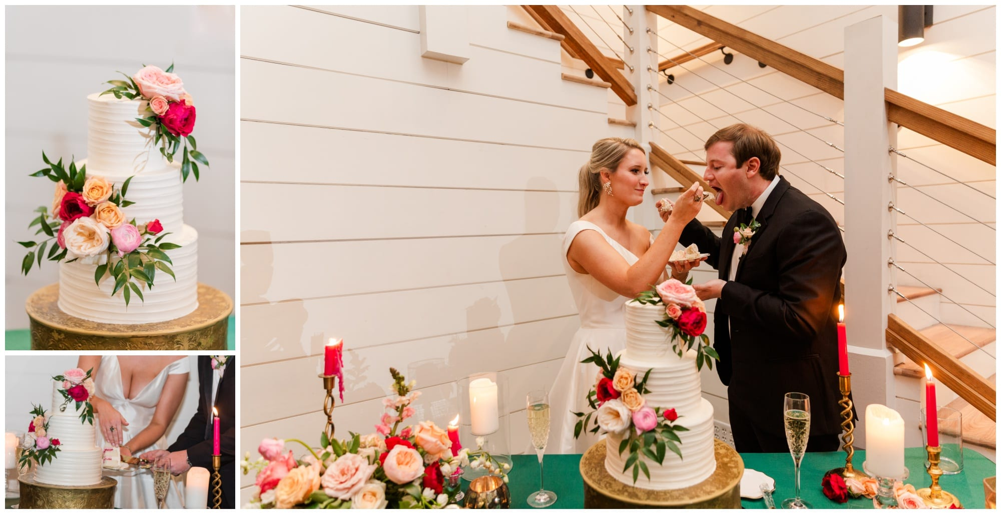 bride and groom share cake at wedding