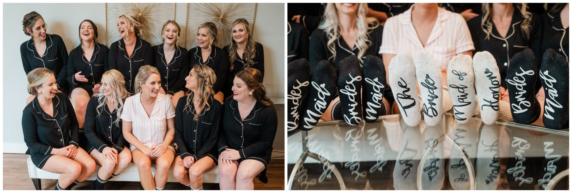 brides in matching pjs with wedding socks