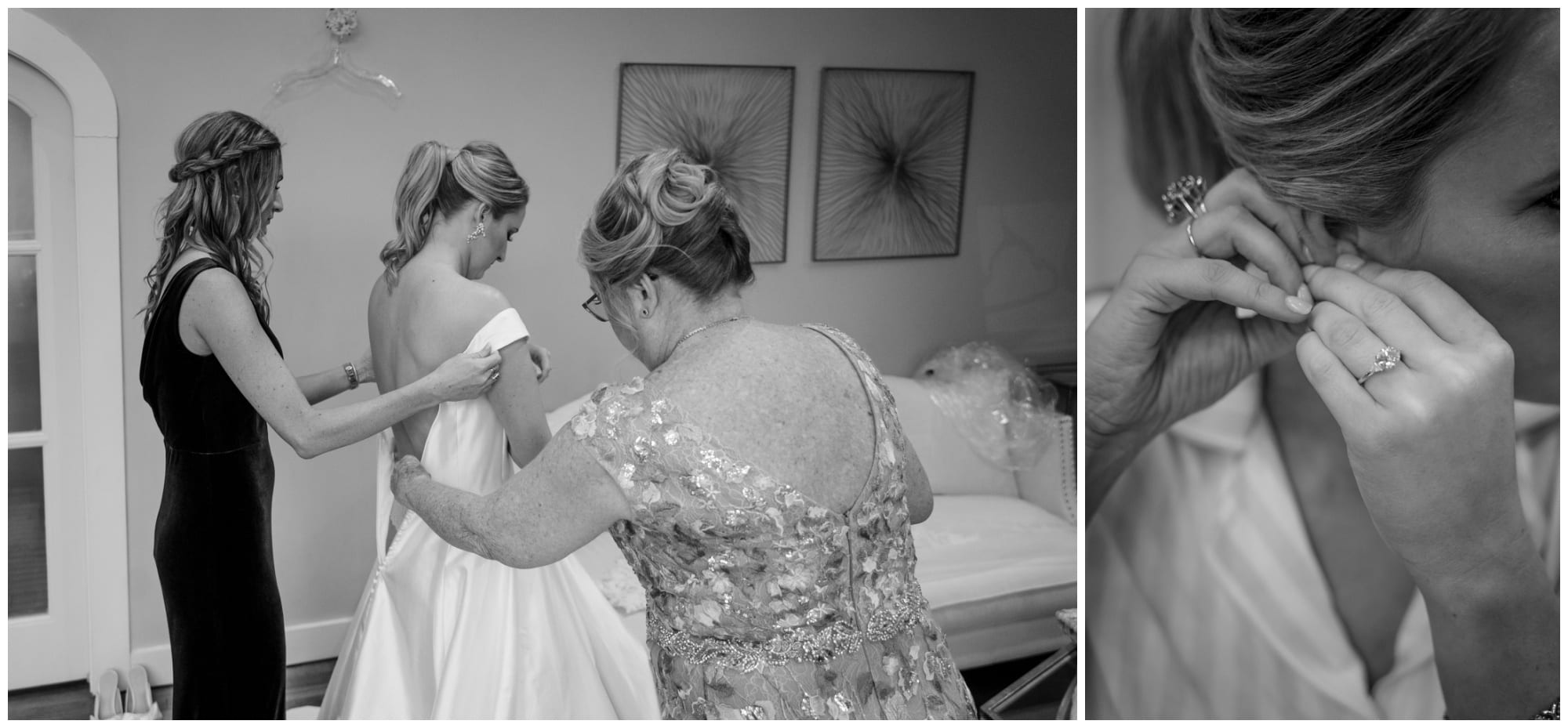 mom and sister help bride into dress