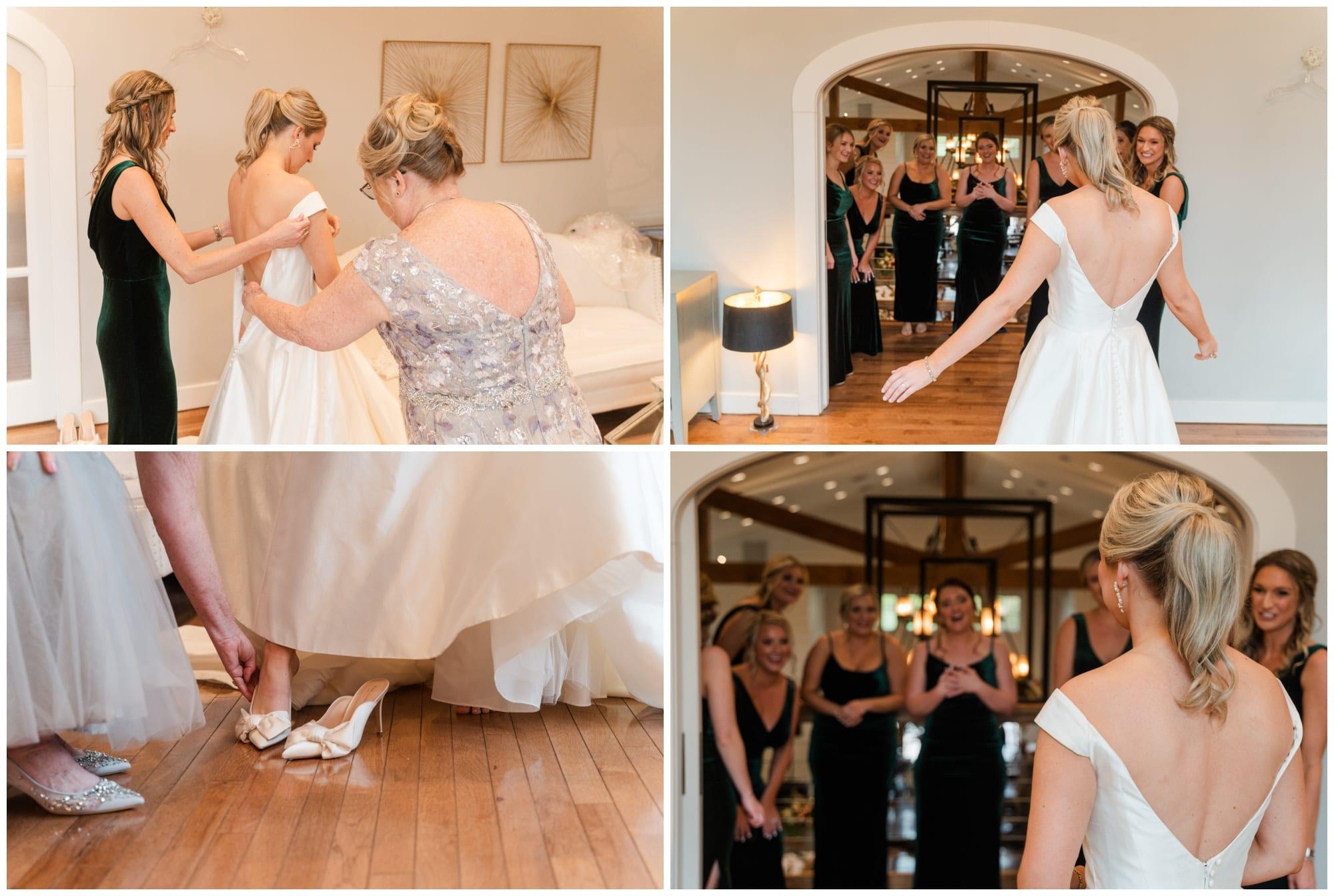 reval of dress to bridesmaids