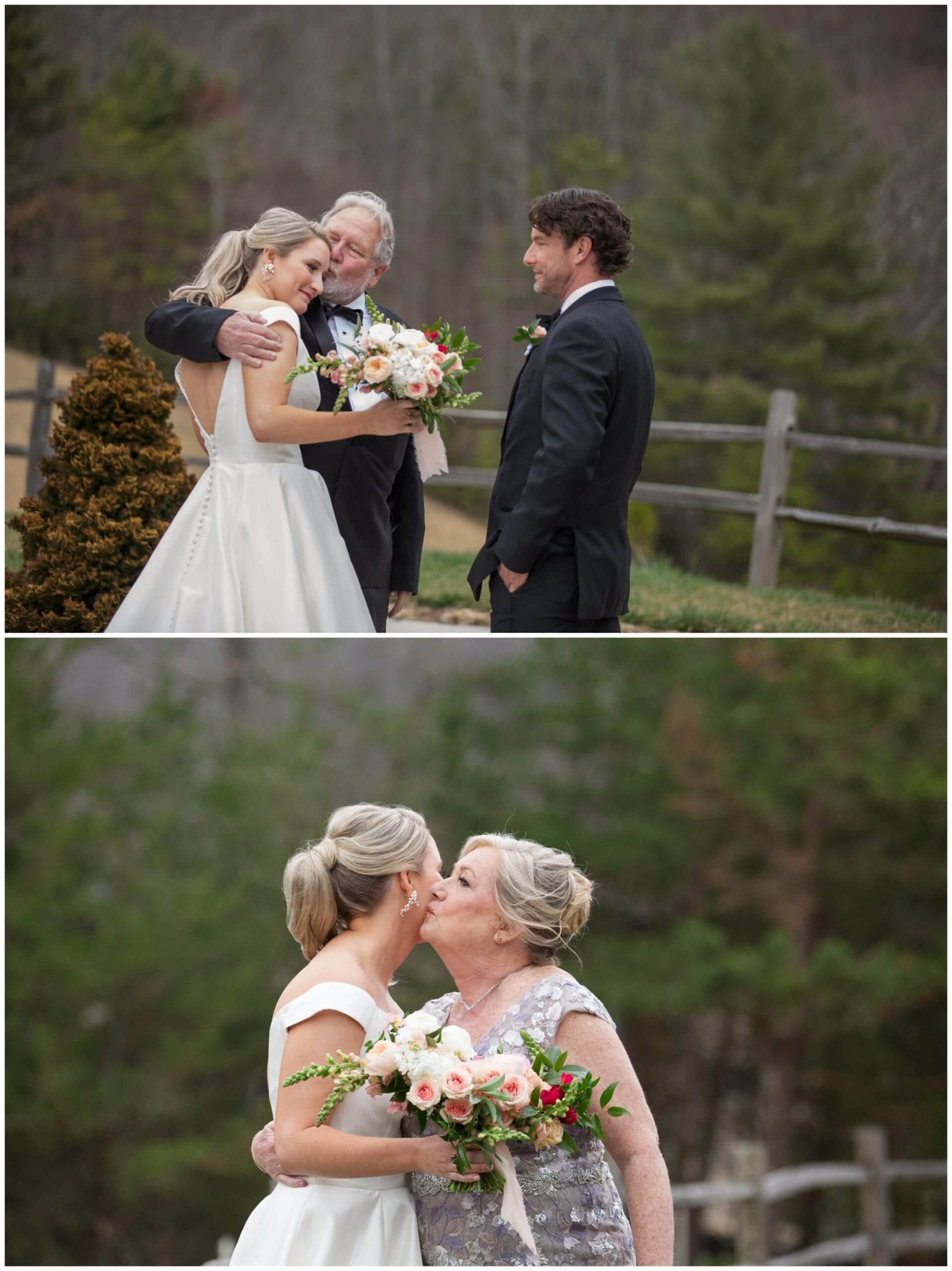 Mom and Dad give daughter a kiss