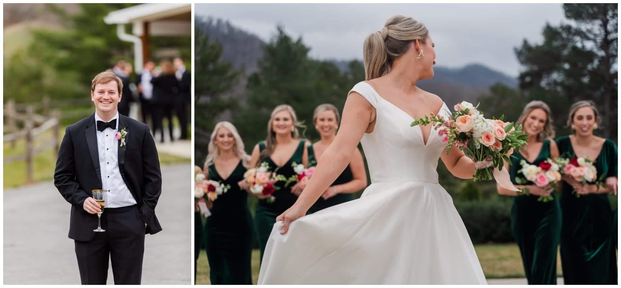 Bride and Groomsmen outdoors at Chestnut Ridge Wedding Venue