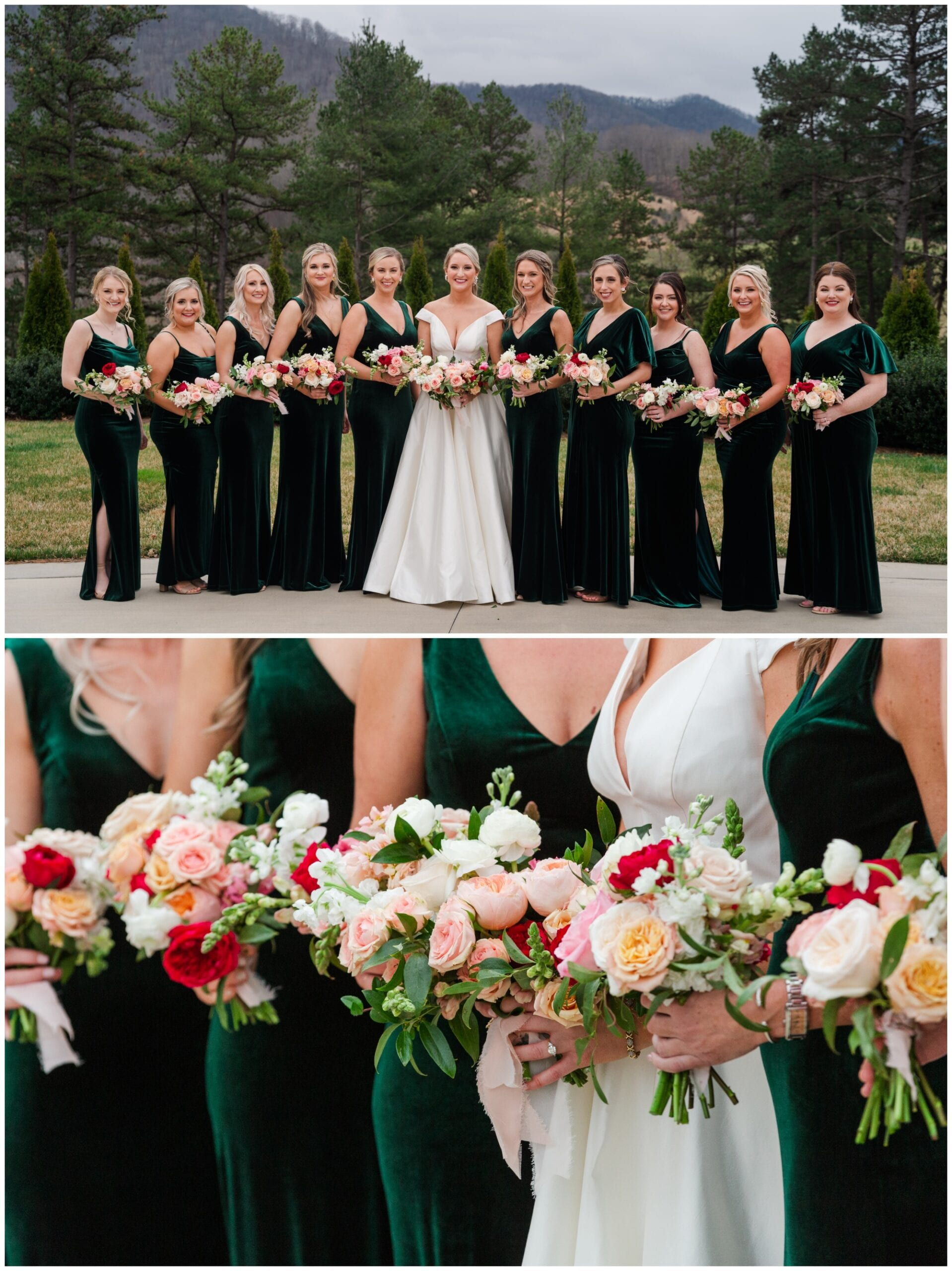Bridesmaids in Green Velvet Dresses with mountains in the background