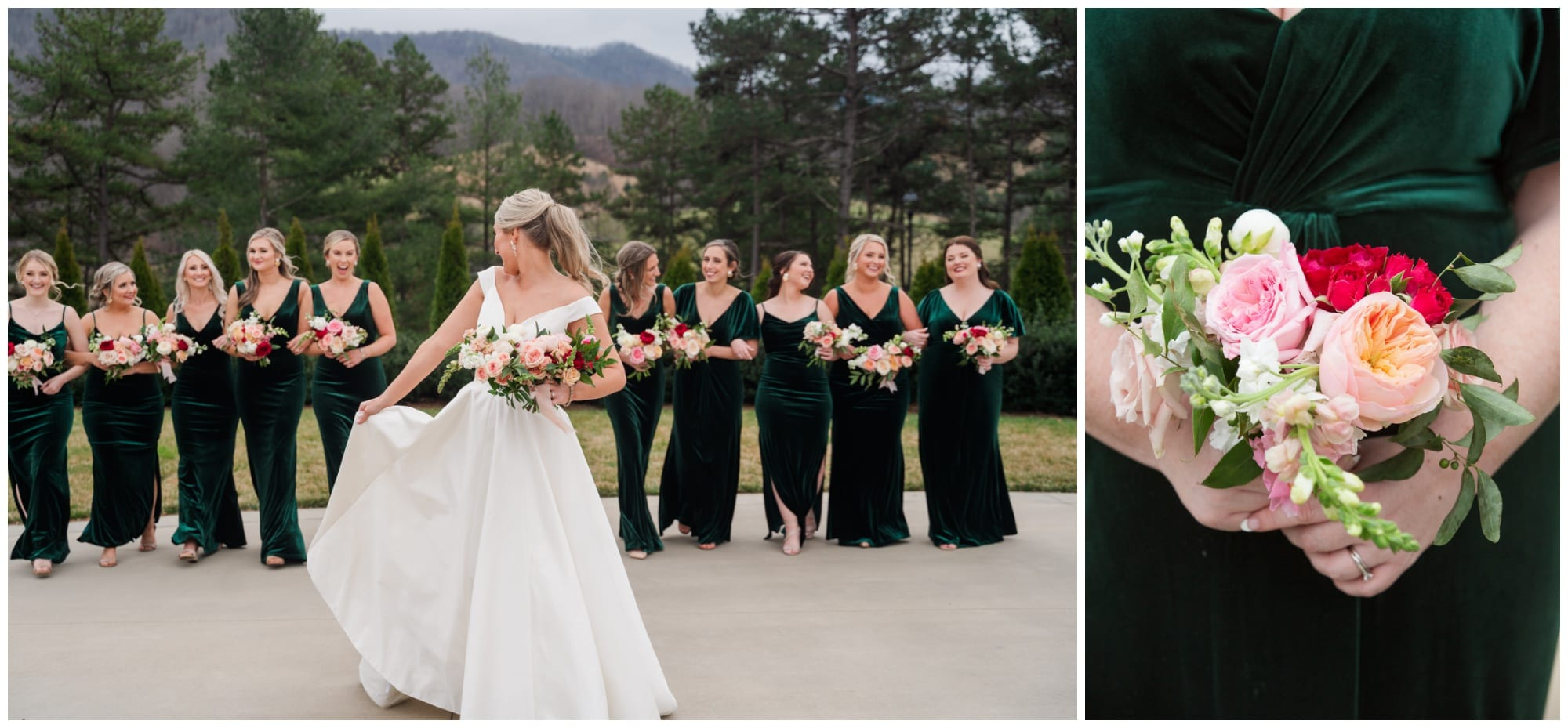 Bridesmaids holding their bouquets and laughing