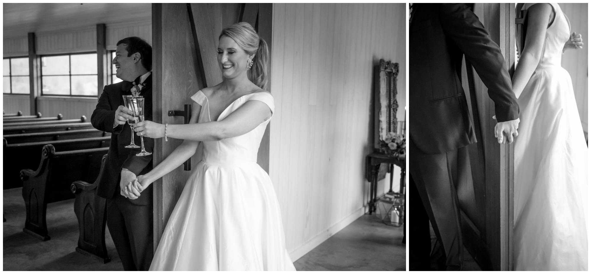 Black and white photos of couple sharing a first touch and champagne toast