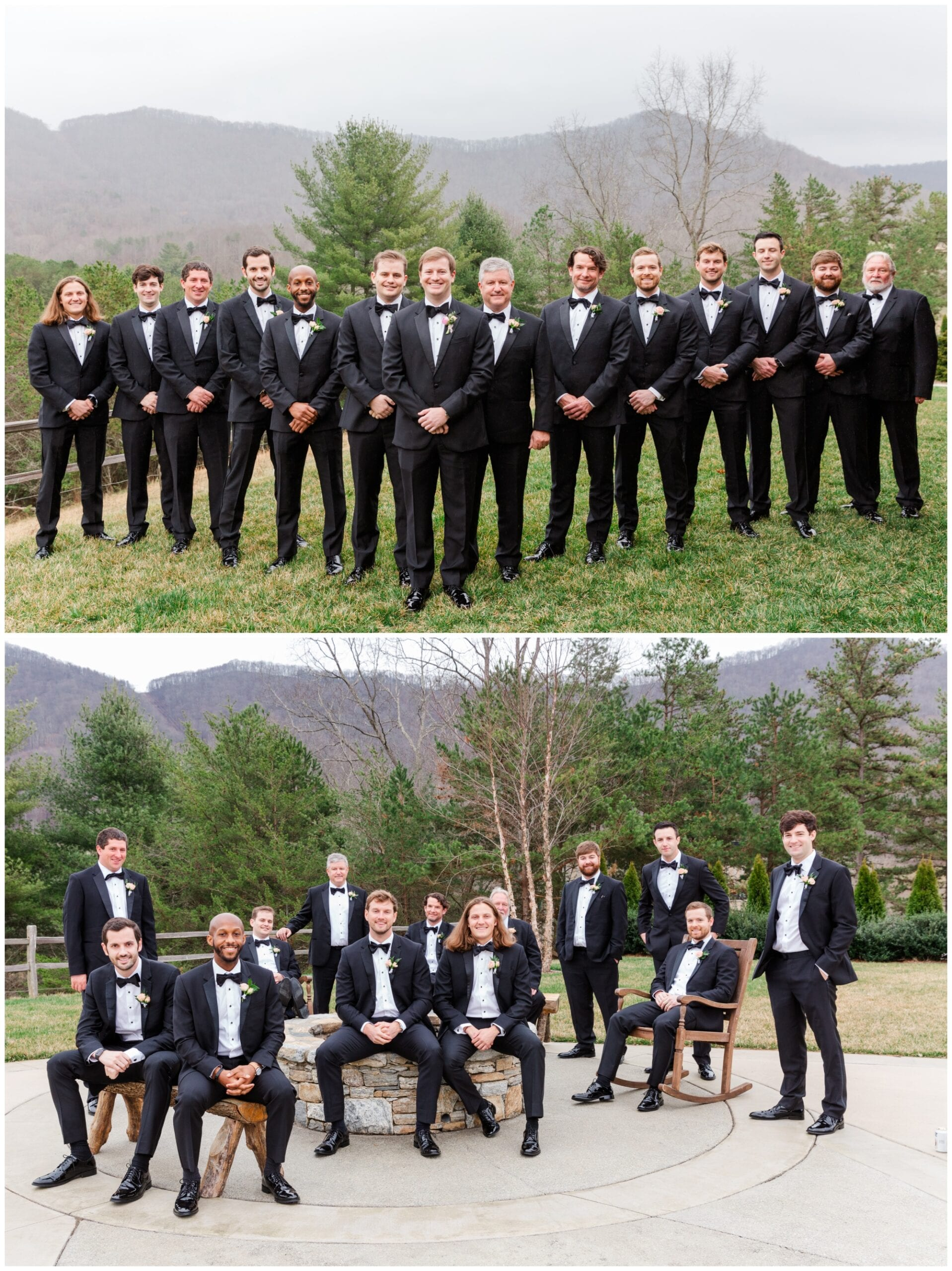 Groom & Groomsmen Photos with mountains in the background