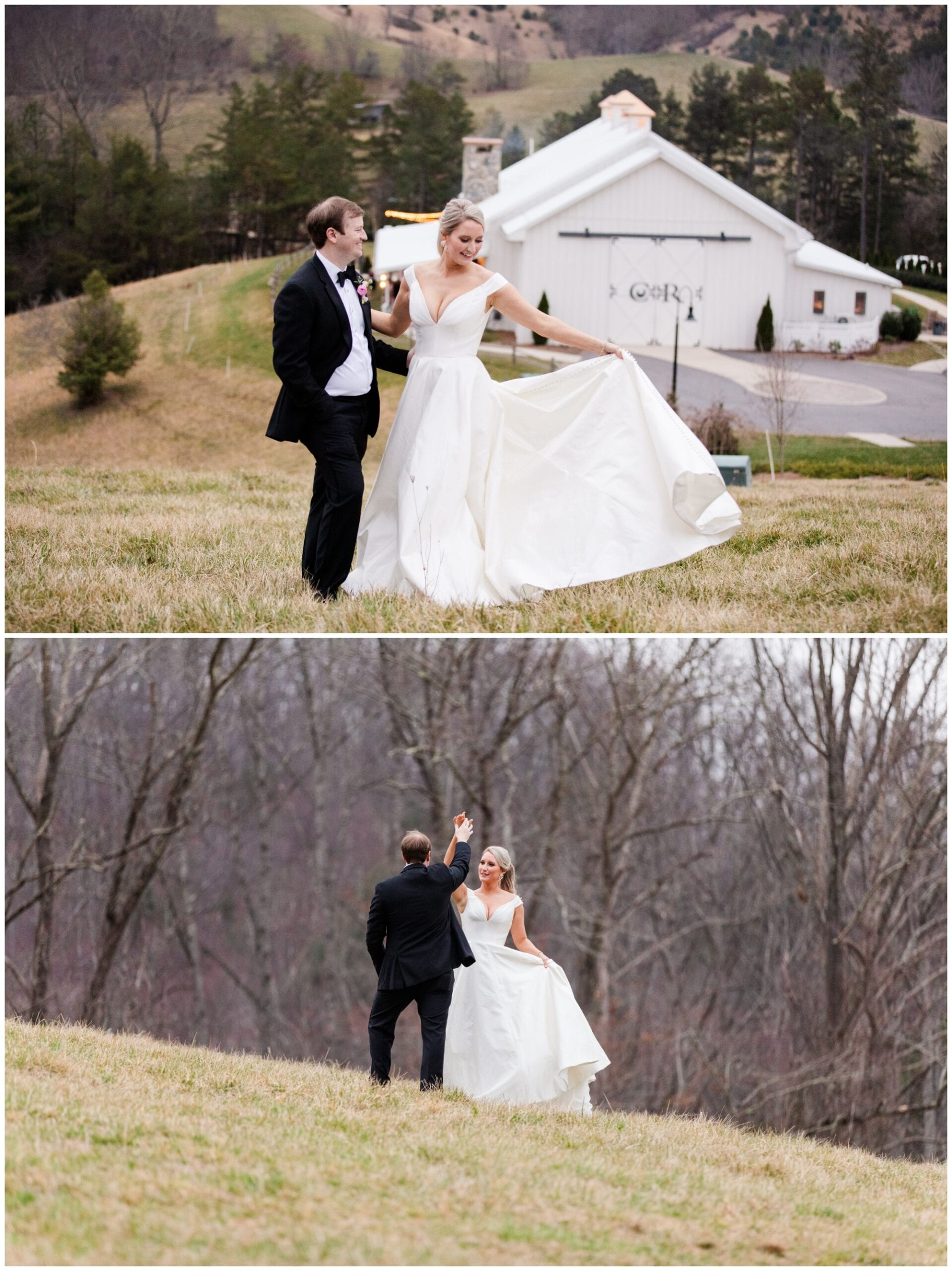 Couple dancing in field above their wedding venue