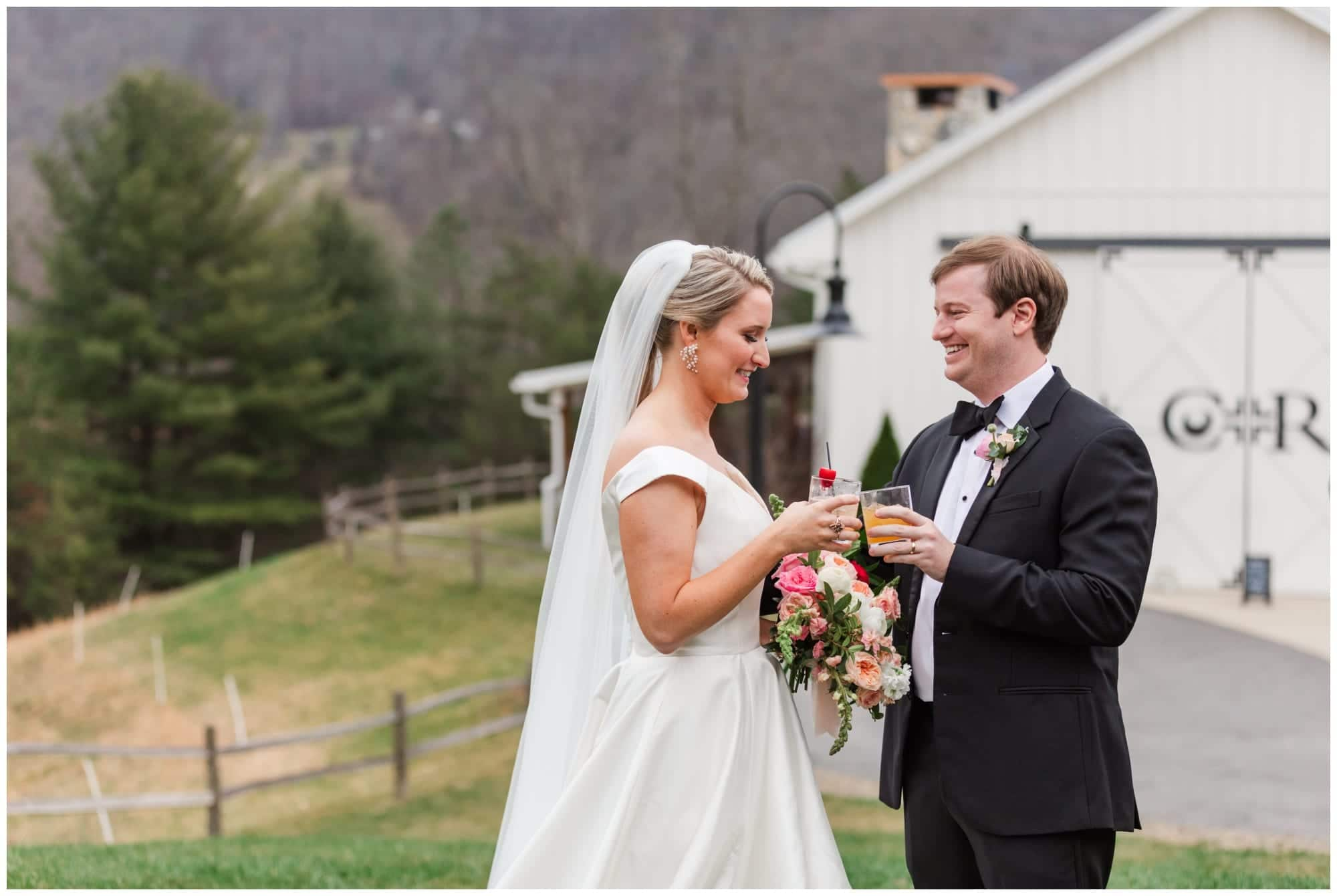 Bride and Groom share a toast after wedding