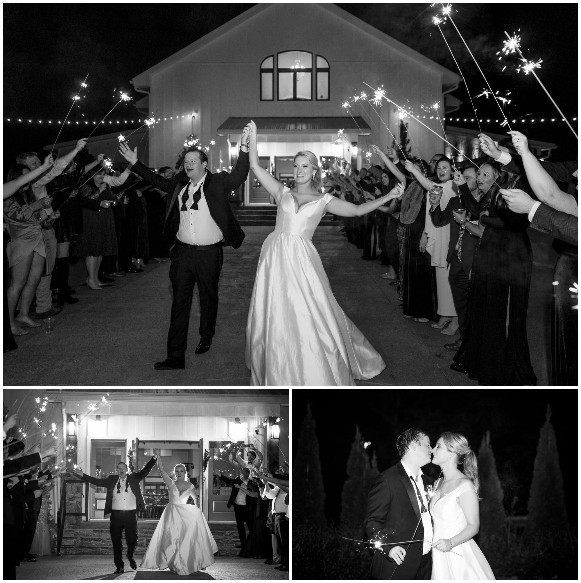 Black and White photos of sparkler exit at asheville wedding venue