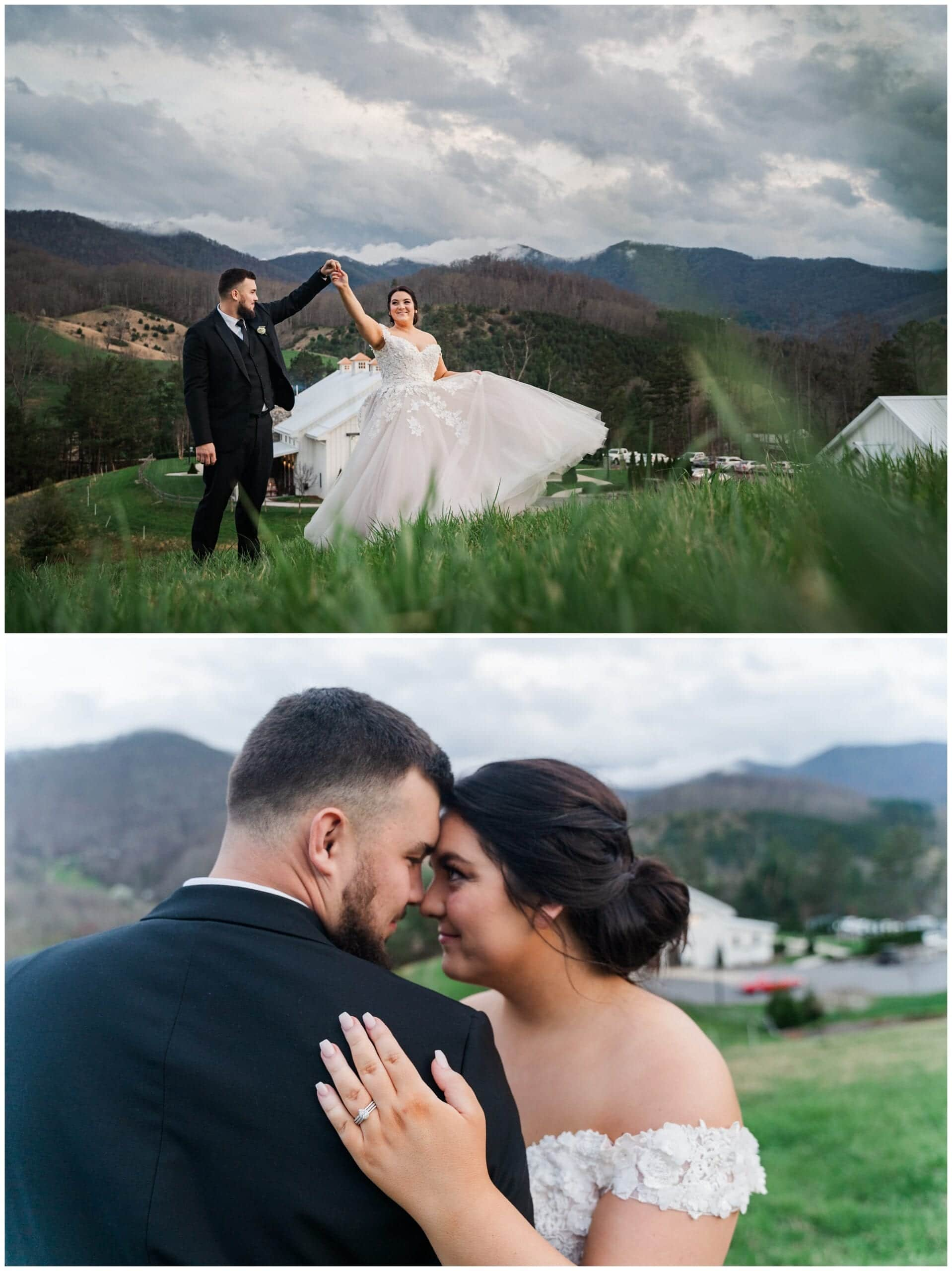 Bride and groom in field with mountains in the background
