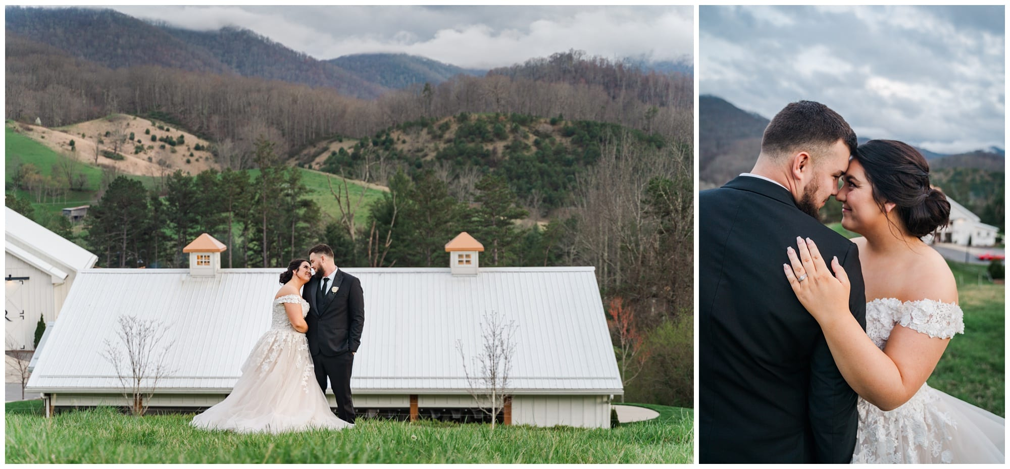 Bride and Groom in field overlooking wedding venue and mountains