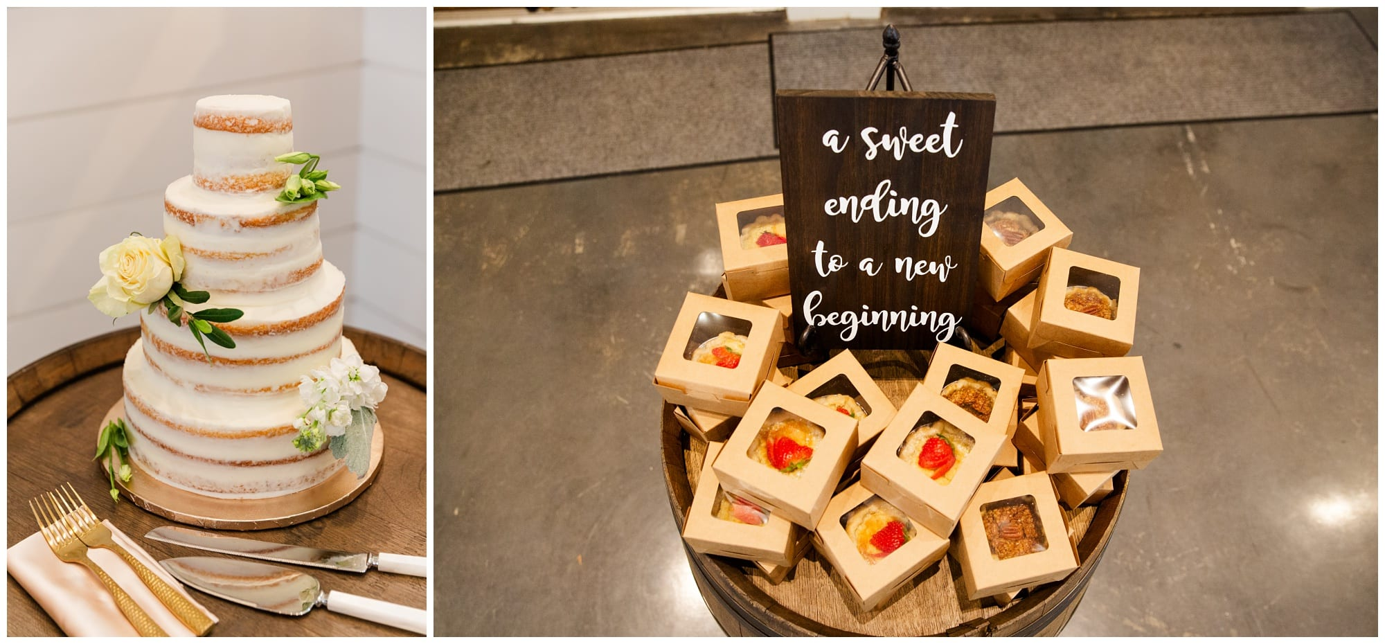 cake and mini pie favors for guests