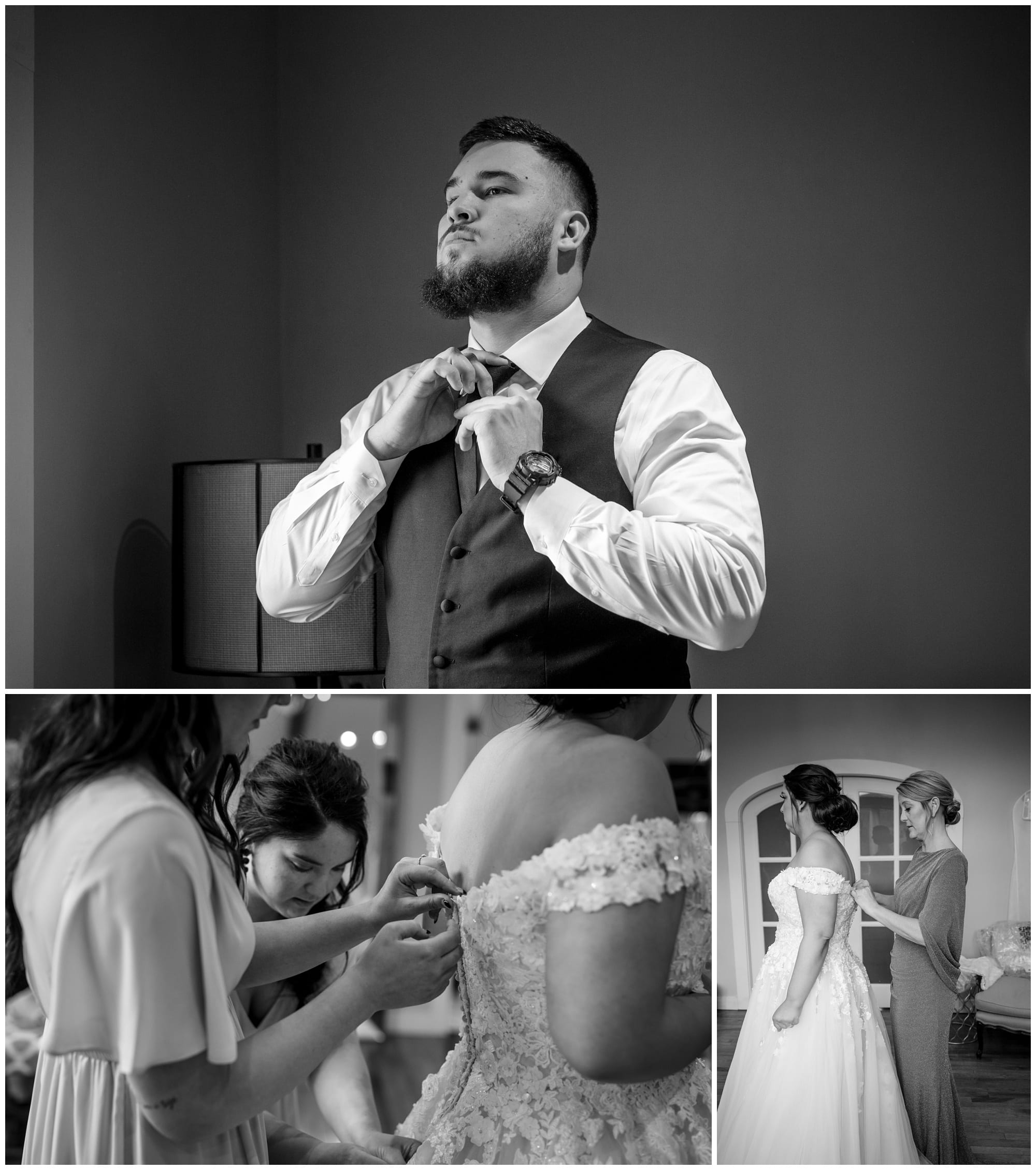 black and white photos of bride and groom getting ready