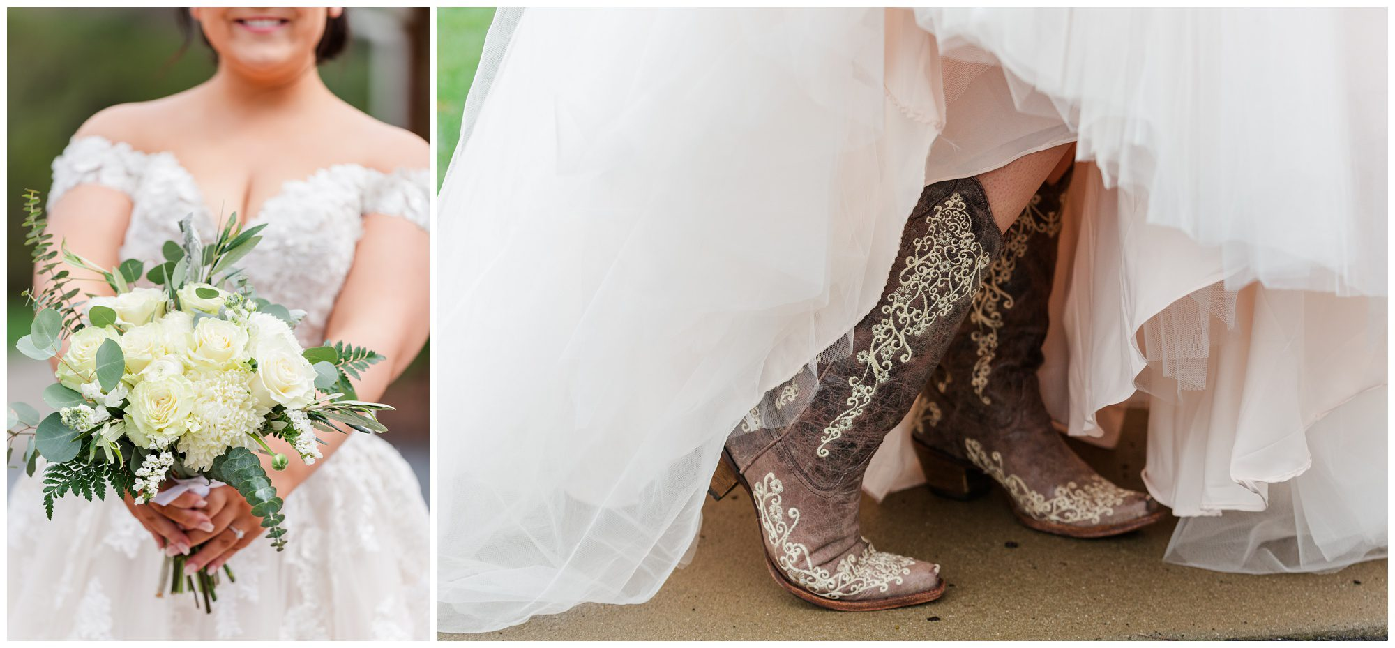 bride details, cowboy boots with dress