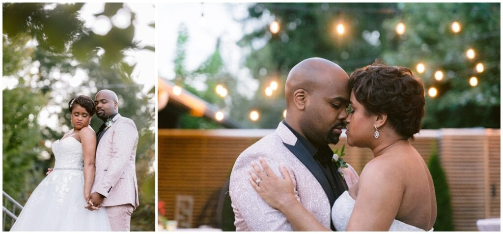 The bride and groom take portraits under string lights at their intimate dinner party wedding at Ambrose west.